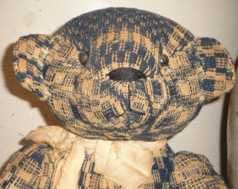 Jointed Bear Handmade From Vintage Coverlet 11 Inches Tall