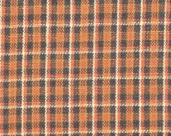 Plaid Fabric | Cotton Fabric | Homespun Fabric | Rust, Khaki, Black And Natural Fabric | 1 Yard