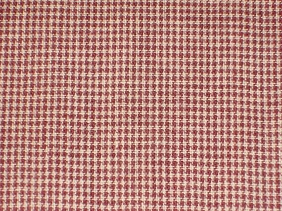 Fine Check Homespun Burgundy Cotton Fabric 1 Yard - DESTASH