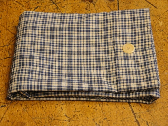 Handmade Homespun Fabric Blue And White Pillow Shams Standard - Queen Size Set Of 2