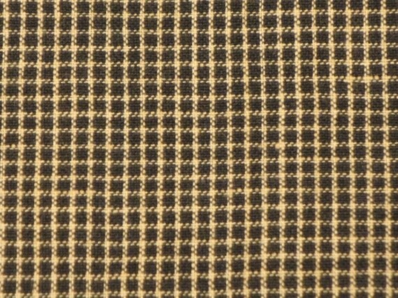 Homespun Cloth Black And Tan Window Pane Fabric  27 Inches Long  x 44 /45 Inches Wide End Of The Bolt