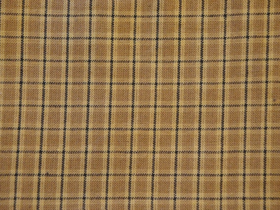 Homespun Cotton Fabric Old Gold And Black Plaid End Of The Bolt 39 x 44