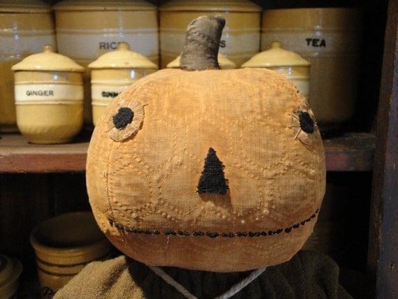 Handmade Vintage Quilt Primitive Pumpkin Head Doll