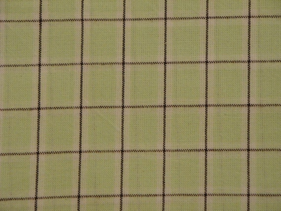 Window Pane Plaid Material | Homespun Material | Cotton Material | Marlene & Lacy Troyer Plaids MT-011 Spring Green, Natural, Brown | 1 Yard