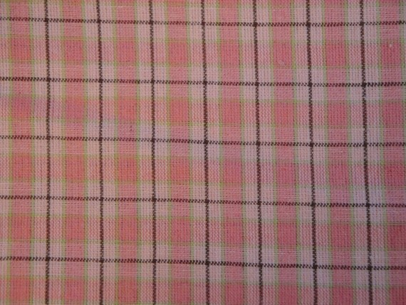 LAST PIECE Homespun Fabric Pink And Green Plaid 61 x 44