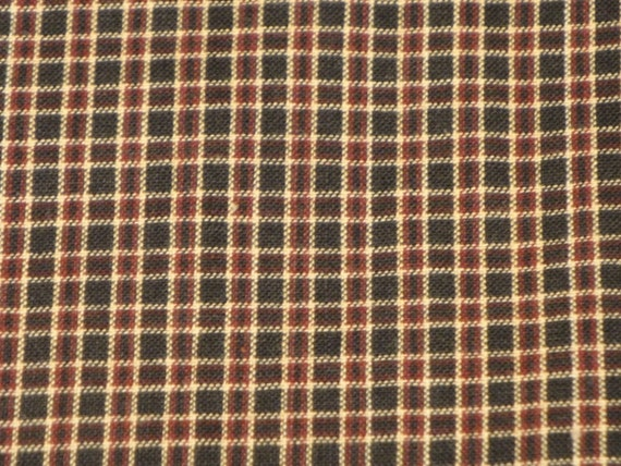 Black, Red And Natural  Window Pane Plaid Homespun 40 X 44/45 End Of The Bolt
