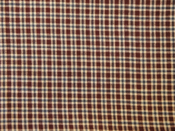 Plaid Homespun Cloth Barn Red, White And Blue  - DESTASH 44 x 44