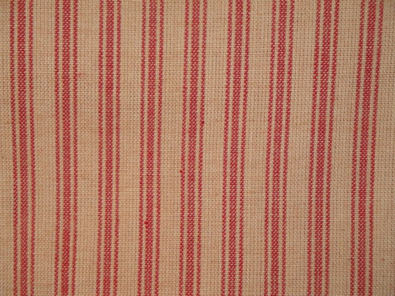 Ticking Material | Red Stripe Material | Homespun Material | Homespun Ticking |  Quilt Material | Sewing Material | 1 Yard