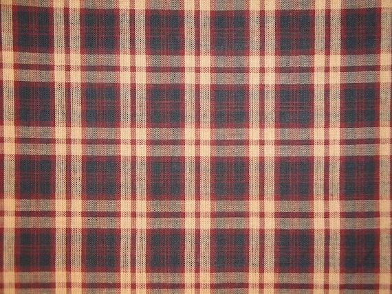 Homespun Material   Plaid Material   Primitive Material   Cotton Material   1 Yard