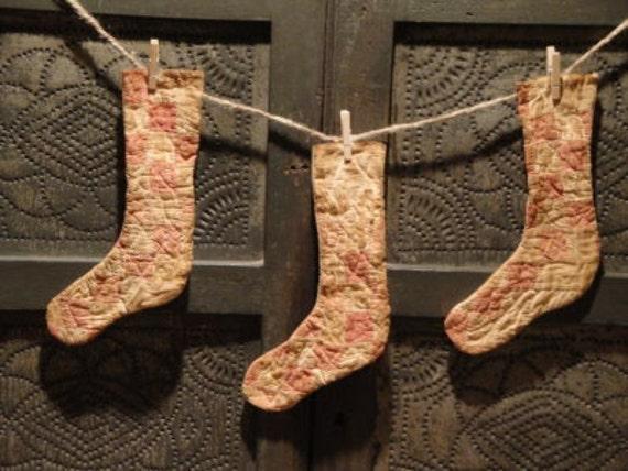 Vintage Quilt Stockings Set Of Three