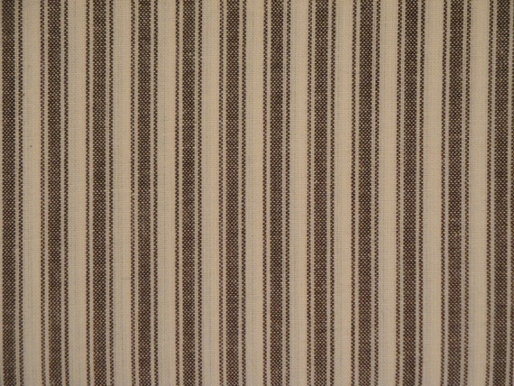 RESERVED Homespun Ticking Brown Stripe Cotton Fabric  -  1 Piece Not Quite A Yard  -  End Of The Bolt