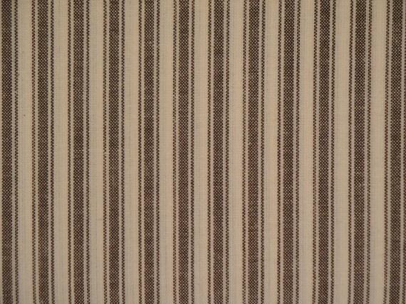 RESERVED Homespun Ticking Brown Stripe Cotton Fabric 12 Yards