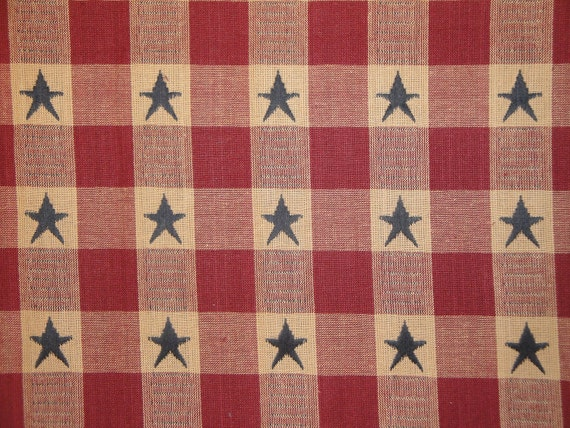 Old Glory Material Cotton Jacquard Wine And Navy Star Check 1 Yard