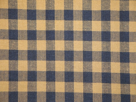 Homespun Fabric |  Blue Homespun Material | Large Check 3/8 Inch Material | 27 x 44
