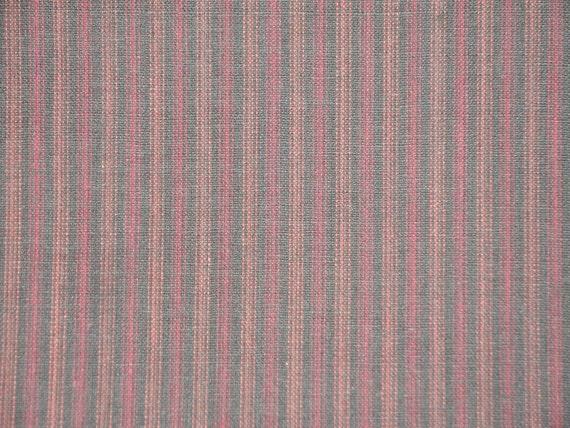 Ticking Stripe Fabric | Quilt Shop Fabric | Homespun Cotton Fabric |  Black And Wine Stripe Fabric |  1 Yard