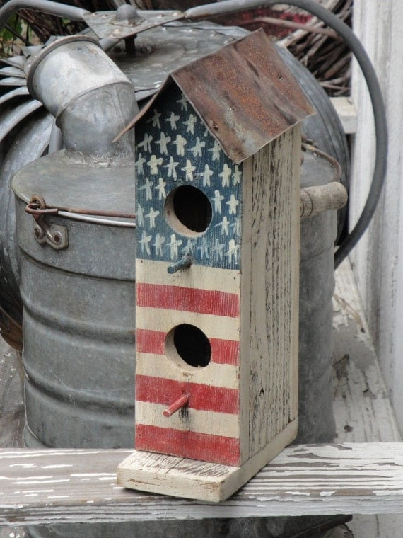 Handpainted Two Hole Primitive Americana Flag Birdhouse