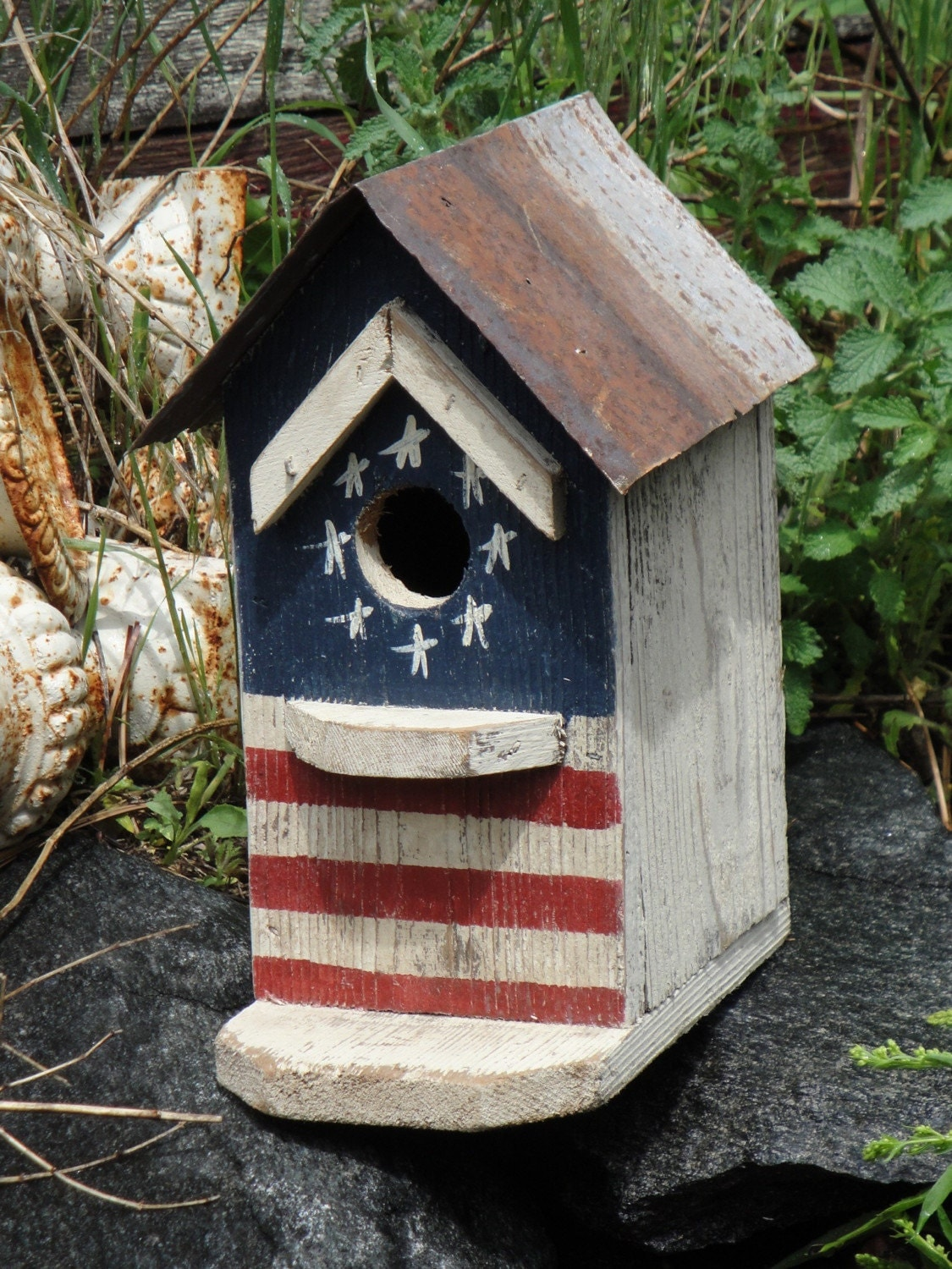 Americana Birdhouse Made From Salvaged Material