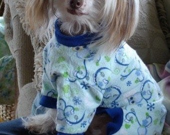 Reserved for Bianca Dog Pajamas Chinese Crested To Order Hippos, Florals, Monkeys and More Your Choice