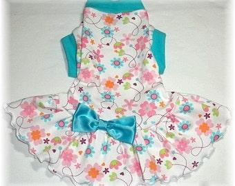 Pet  Dog Clothing Turquoise Dog Dress for Spring To Order Ruffled and Sleeveless