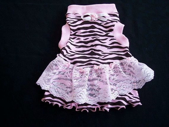 Pet Clothing  Lacy Zebra Night or Day Dress - To Order XSmall and up