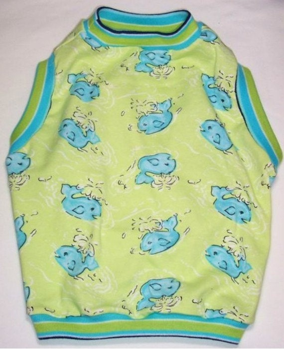 """RESERVED Pet Clothing BIG Dog Size Ready To Ship Chest 30"""" plus  Lime with Sea Green  Blue Whales"""