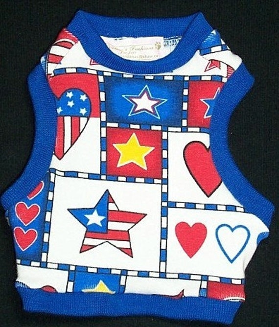 Reserved for Julie Pet Clothing Tank Shirt XSmall All Done and Ready To Ship Patriotic Charm