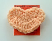 peach crochet heart pin - hand crocheted light orange flesh tone heart brooch - mother's day gift - perfect party or wedding favors