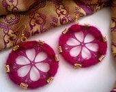moroccan crochet medallion earrings in purple
