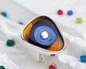 Lampwork Ring - A Triangle of Orange and Blue on Sterling Silver - Adjustable Ring