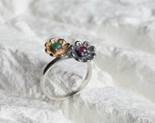 Flower Ring - Raw Emerald and Raw Ruby on Brass and Silver Band - ready to ship