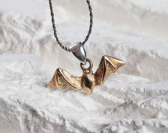 Bat Necklace in Bronze with Silver Chain