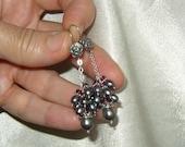 Peacock Pearl Rhodolite Garnet Cluster Earrings