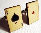 Ace of Spades and Ace of Hearts vintage style playing cards on silver cufflinks in FREE gift box