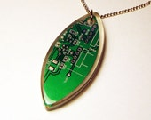 Green computer circuit board necklace in FREE gift box