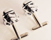 RARE Chrome Star Wars Storm Trooper silver toned cufflinks