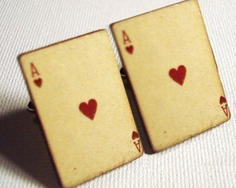 Groomsmen Gifts, groom, Bride, Cufflinks, Poker, Ace of hearts vintage style playing card silver cufflinks in simple gift box