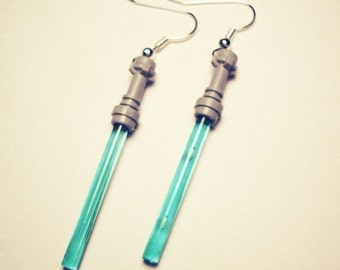 Star Wars Blue Light Saber silver earrings in FREE gift box