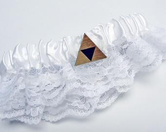 Wedding Garter Belt, Tri force Zelda gold or silver gift box