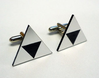 Zelda Cuff links, Tri Force, Grooms gift, Wedding, Cufflinks, Tri force Zelda silver cuff links in gift box