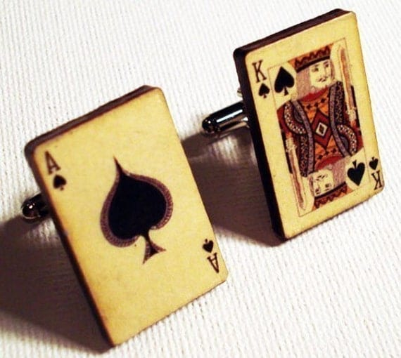 Ace and King of spades vintage style playing cards on silver cufflinks in FREE gift box