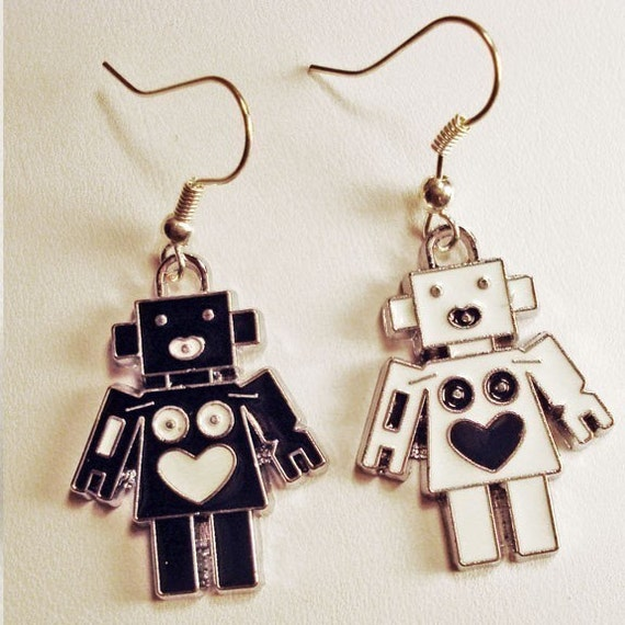 Black and white robot fish hook earrings in FREE gift box