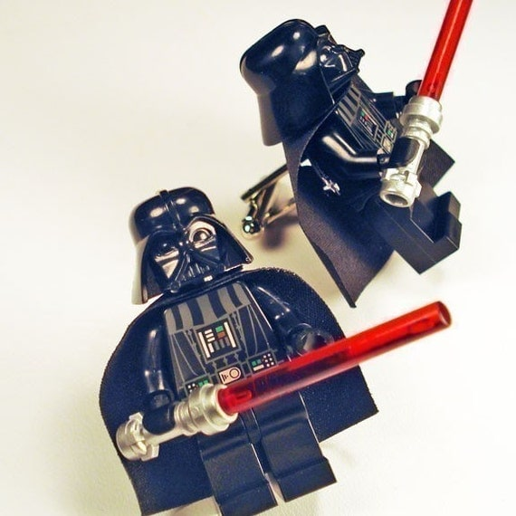 Full body Darth Vader LEGO silver toned cufflinks in FREE gift box
