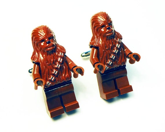 Cufflinks, Wedding, Groom, Groomsmen, Ring Bearer, Full body Star Wars Chewbacca silver toned cufflinks