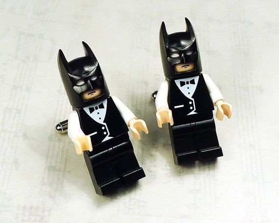 Full body Batman black with black and white wedding tuxedo on silver toned cufflinks in gift box