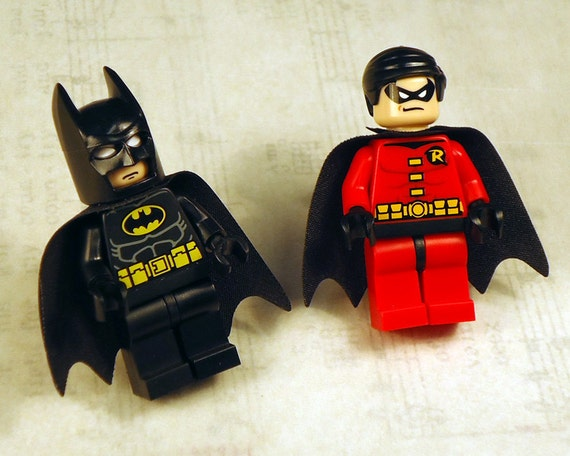 Full body DC series Batman and Robin LEGO silver toned cufflinks in FREE gift box