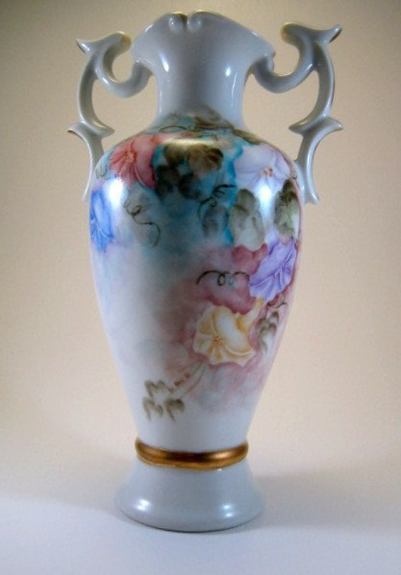"""Vintage Hand Painted Vase - Morning Glories Pastel Colors Gold Accents Handles 1961 9"""" tall"""