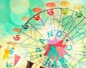 CLEARANCE - Nursery decor, summer carnival, ferris wheel photo, baby's room, print kid's room art, aqua, pink, bold colors Panoramic 24x30
