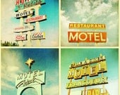 Vintage neon signs,  print collection, car trip, retro modern -  Roadtrip Set of 4 5x5