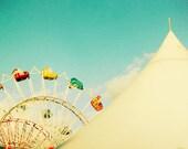 Carnival photography, turquoise, wall art aquamarine fall fair art for a nursery rainbow colors circus tent - Big Top 8x10
