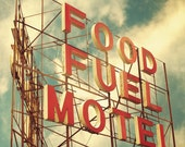 Vintage motel sign Red letters travel photo kitchen art guest room decor retro mid century diner : Food Fuel Motel 8x8